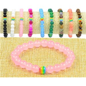 8mm Rose Quartz Stone Beads Bracelet on Elastic Wire Rainbow Collection 77504