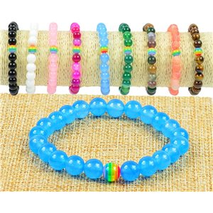 8mm Blue Aventurine Stone Beads Bracelet on Elastic Wire Rainbow Collection 77506