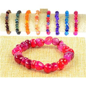 New Agate Fuchsia Asymmetric Gemstone Bracelet on Elastic Wire 77511