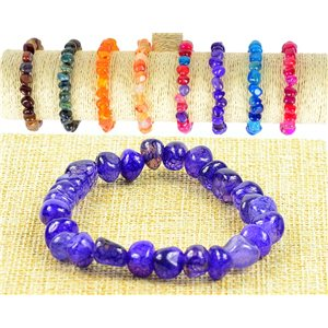 New Bracelet Agate Purple Stone Asymmetrical Beads on Elastic Wire 77513