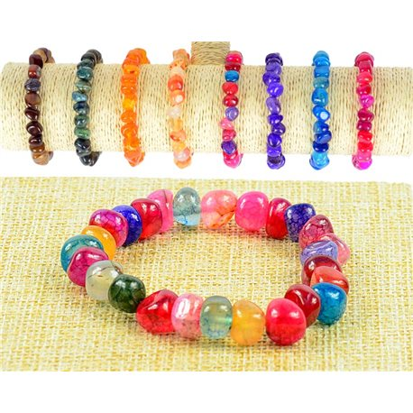 New Agate Multicolor Agate Stone Bracelet with Elastic Wire 77514
