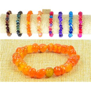 New Agate Orange Agate Stone Bracelet with Elastic Wire 77516