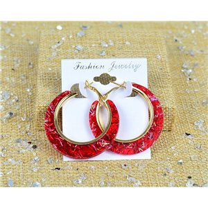 1p Earring Spangled Hoop Earring 45mm Clasp New Collection 77687