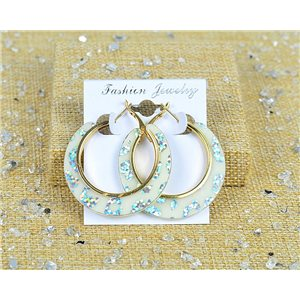 1p Earrings Spangled Hoops 45mm clamshell closure New Collection 77704