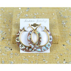 1p Earrings Spangled Hoops 45mm clamshell closure New Collection 77708