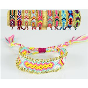 Braided Cotton Cuff Bracelet on Sliding Knot New Ethnic Collection 77737