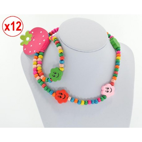 12 Sets Junior Wood Beads Necklace and Bracelet 62410