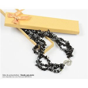 Collier Triple Rang en Pierre Obsidienne mouchetée L48-56cm New Collection 77761