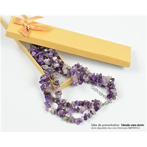 Collier Triple Rang en Pierre Agate Purple L48-56cm New Collection 77771