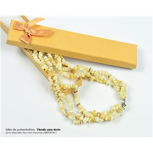 Collier Triple Rang en Pierre Quartz Jaune L48-56cm New Collection 77768