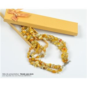 Collier Triple Rang en Pierre Citrine L48-56cm New Collection 77769