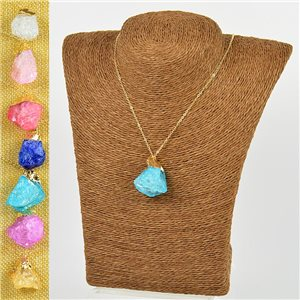 Mineral Quartz Pendant Necklace on gold metal chain L40-46cm New Collection 77778