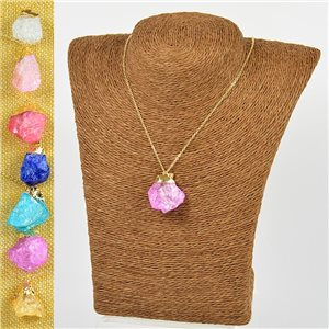 Mineral Quartz Pendant Necklace on Gold Metal Chain L40-46cm New Collection 77779