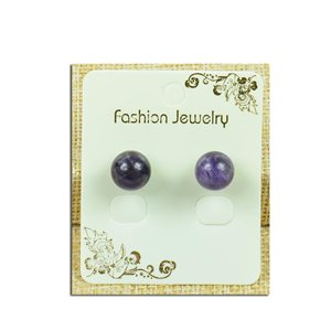 1p Earrings Nail Pearl 10mm Agate Stone Purple - New Collection 77933