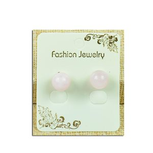 1p Earrings Nail Pearl 10mm Rose Quartz Stone - New Collection 77929