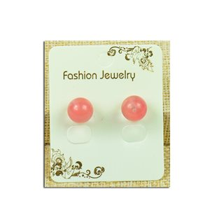 1p Boucles Oreilles à clou Perle 10mm en Pierre Quartz Rose - New Collection 77938