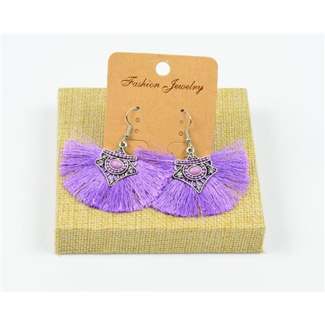 1p Earrings Crochet Tassel and Beads New Ethnic Collection 77964