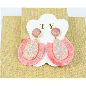 1p Boucles Oreilles à Clou Pompon et Paillettes New Collection Chic 77894