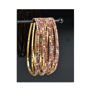 Lot of 10 - Stretch Bracelet Set with Sparkling Rhinestones on Gold Mesh 77850