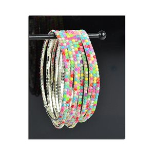Batch of 10 - Stretch Bracelet Set with Sparkling Rhinestones on Silver Mesh 77846