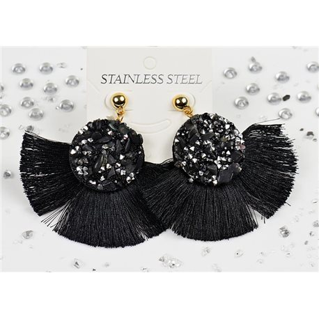 1p Earrings Nail Stud Stainless Steel Decor Stone and Rhinestone New Collection 77709