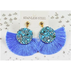 1p Earrings Nail Stud Stainless Steel Decor Stone and Rhinestone New Collection 77714
