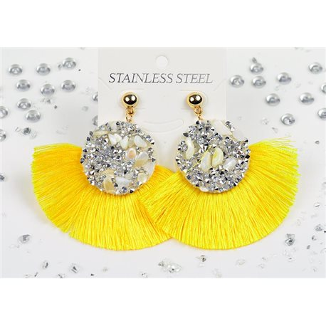 1p Earrings Nail Stud Stainless Steel Decor Stone and Rhinestone New Collection 77715