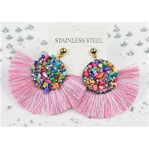 1p Earrings Nail Stud Stainless Steel Decor Stone and Rhinestone New Collection 77717