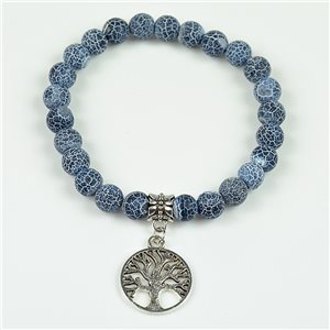 Lucky Tree of Life Beads Bracelet 8mm in Agate Marbled Stone on Elastic Wire 78125