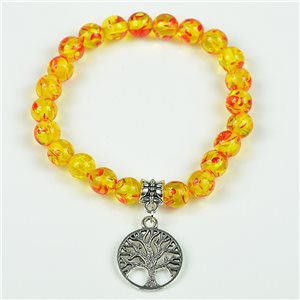 Lucky Tree of Life Beads Bracelet 8mm in Amber Stone * Flower on elastic thread 78128