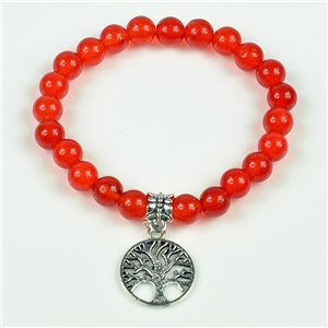 Charm Bracelet Tree of Life Pearls 8mm in Carnelian Stone on elastic thread 78133