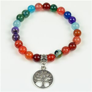 Lucky Tree of Life Beads Bracelet 8mm in Agate Stone multicolor on elastic thread 78134