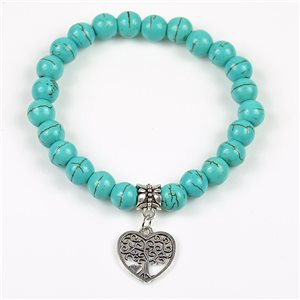 Tree of Life Lucky Charm Bracelet 8mm in Turquoise Howlite Stone on elastic thread 78139