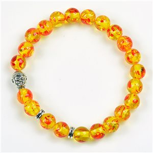 Lucky Buddha Beads Bracelet 8mm in Amber Stone * Flower on elastic thread 78174
