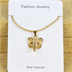 IRIS Gold Color Rhinestone Pendant Necklace Snake chain L40-45cm 78273