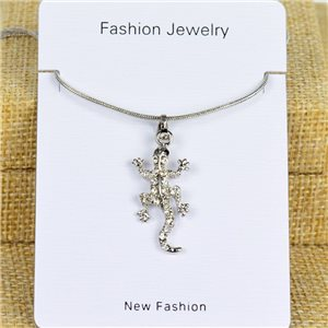 IRIS Silver Color Rhinestone Pendant Necklace Snake chain L40-45cm 78274