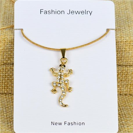 IRIS Gold Color Rhinestone Pendant Necklace Snake chain L40-45cm 78275