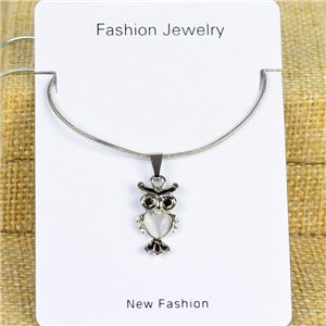 IRIS Silver Color Rhinestone Pendant Necklace Snake chain L40-45cm 78276