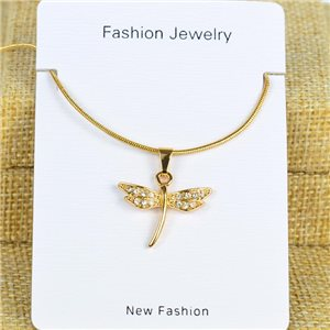 IRIS Gold Color Rhinestone Pendant Necklace Snake chain L40-45cm 78283