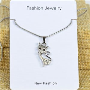 IRIS Silver Color Rhinestone Pendant Necklace Snake chain L40-45cm 78284