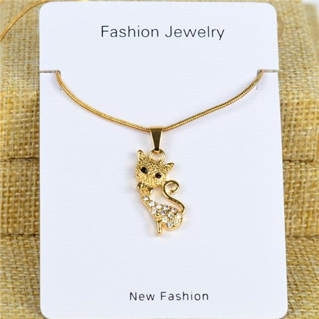 IRIS Gold Color Rhinestone Pendant Necklace Snake chain L40-45cm 78285
