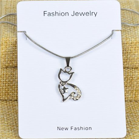 IRIS Silver Color Rhinestone Pendant Necklace Snake chain L40-45cm 78286