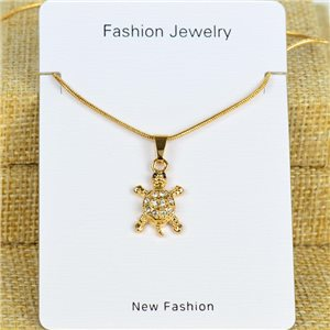 IRIS Gold Color Rhinestone Pendant Necklace Snake chain L40-45cm 78289