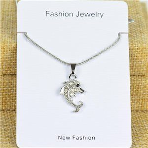 IRIS Silver Color Rhinestone Pendant Necklace Snake chain L40-45cm 78292