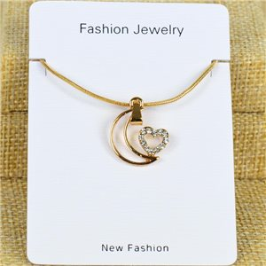 IRIS Gold Color Rhinestone Pendant Necklace Snake chain L40-45cm 78301