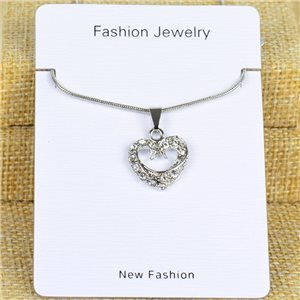 IRIS Silver Color Rhinestone Pendant Necklace Snake chain L40-45cm 78302