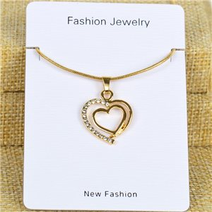 IRIS Gold Color Rhinestone Pendant Necklace Snake chain L40-45cm 78307