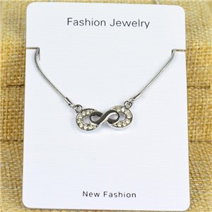 IRIS Silver Color Rhinestone Pendant Necklace Snake chain L40-45cm 78320