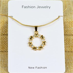 IRIS Gold Color Rhinestone Pendant Necklace Snake chain L40-45cm 78325
