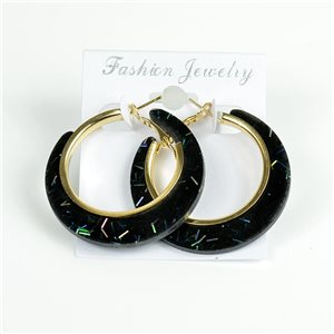 1p Hoop Earrings Glitter 45mm flap closure New Collection 78203